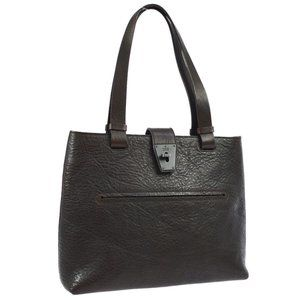 Auth Gucci Tote Bag Dark Brown Leather #4134G12B